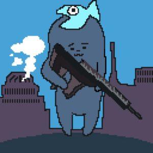 銃を構えるゲー吉