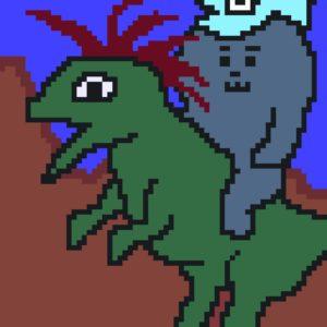 恐竜に乗るゲー吉